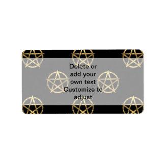 Black and gold pentagram label