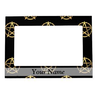 Black and gold pentagram magnetic frame