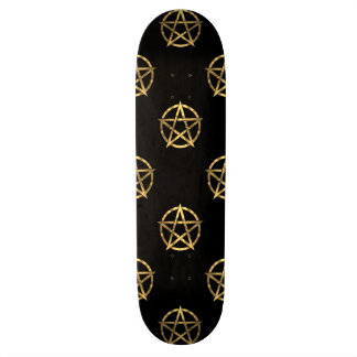 Black and gold pentagram skate board decks