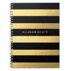 Black And Gold Personalised Notebook