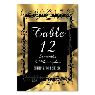 Black and gold personalized table card