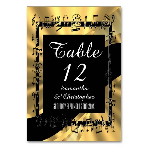 Black and gold personalized table cards