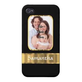 Black and gold photo template case for iPhone 4