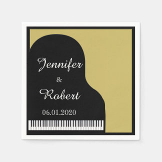 Black and Gold Piano Wedding Napkin Paper Napkins
