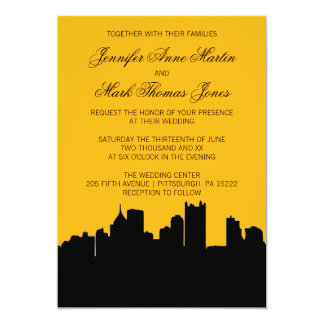 Black and Gold Pittsburgh City Skyline Wedding II 13 Cm X 18 Cm Invitation Card