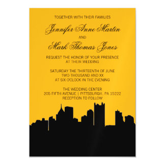 Black and Gold Pittsburgh Skyline Hometown Wedding Magnetic Invitations