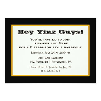 Black and Gold Pittsburgh Style Yinz Party 13 Cm X 18 Cm Invitation Card
