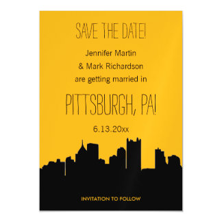 Black and Gold Pittsburgh Wedding Save the Date Magnetic Invitations