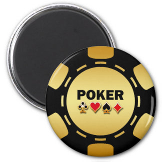 BLACK AND GOLD POKER CHIP 6 CM ROUND MAGNET