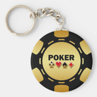 BLACK AND GOLD POKER CHIP BASIC ROUND BUTTON KEY RING