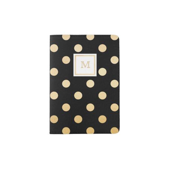 Black and Gold Polka Dot Passport Holder