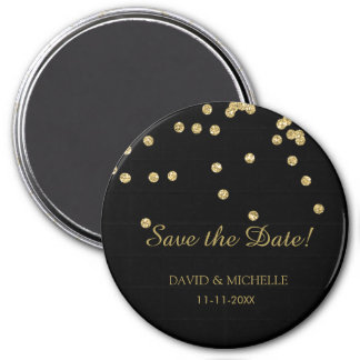 Black and Gold Polka Dots Glitters Save the Date 7.5 Cm Round Magnet