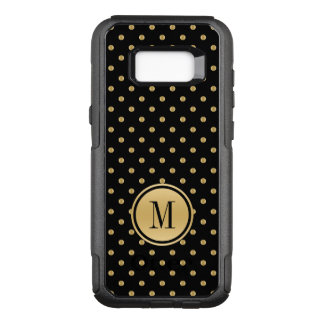 Black and gold polka dots pattern OtterBox commuter samsung galaxy s8+ case