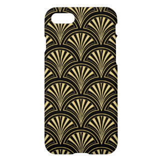 Black and Gold Posh Deco Fan Pattern iPhone 7 Case