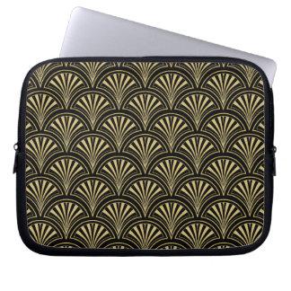 Black and Gold Posh Deco Fan Pattern Laptop Sleeve