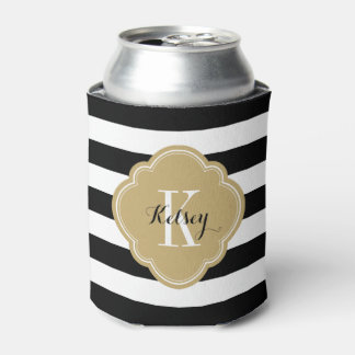 Black and Gold Preppy Stripes Monogram Can Cooler