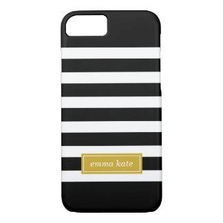 Black and Gold Preppy Stripes Monogram iPhone 7 Case