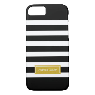 Black and Gold Preppy Stripes Monogram iPhone 8/7 Case