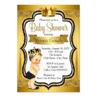 Black and Gold Prince Baby Shower 13 Cm X 18 Cm Invitation Card