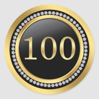 Black and gold, printed diamonds 100th Birthday Classic Round Sticker