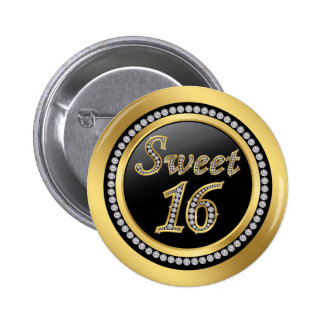 Black and gold, printed diamonds Sweet 16 6 Cm Round Badge