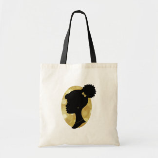 Black and Gold Puff Girl Silhouette Tote