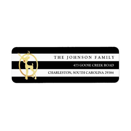 Black and Gold Reindeer Return Address Label