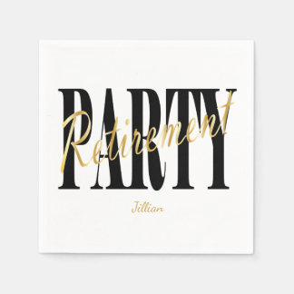 Black and Gold Retirement Party, Custom Napkins Disposable Serviette