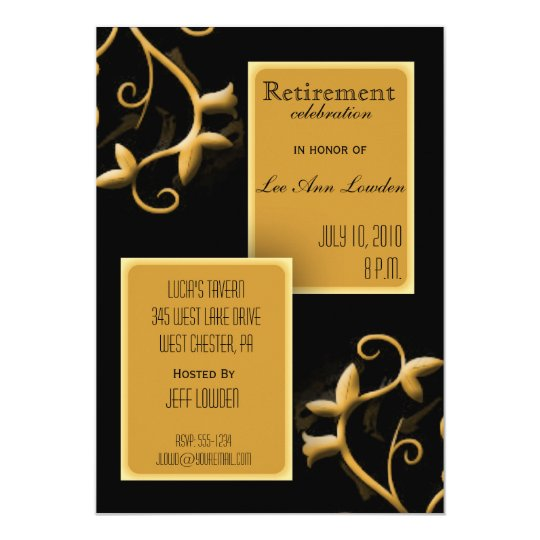 Black and Gold Retirement Party Invitation