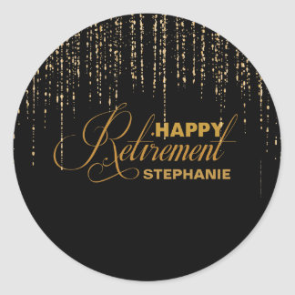 Black and Gold Retirement Party Stickers
