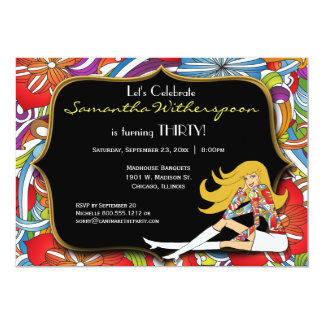 Black And Gold Retro 30th Birthday Party Card