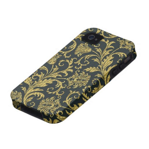 Black And Gold Retro Flowers & Swirls Design iPhone 4/4S Case