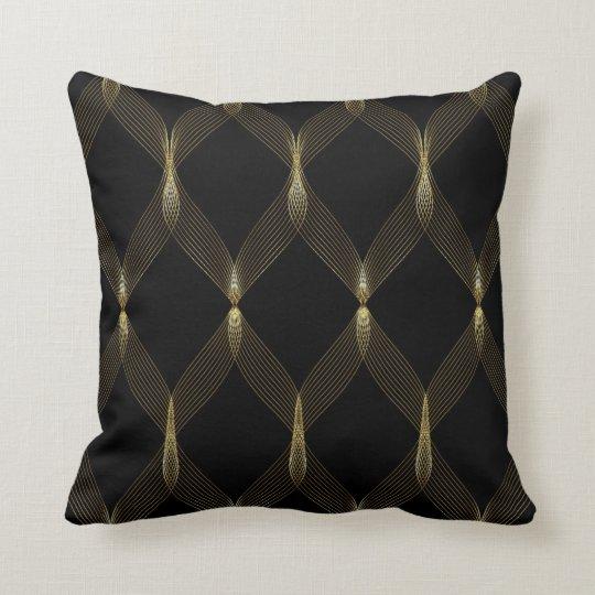 Black and Gold Ribbon Throw Pillow