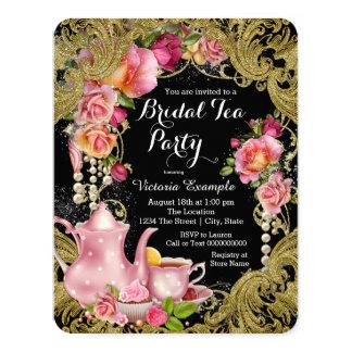 Black and Gold Rose Tea Party 11 Cm X 14 Cm Invitation Card