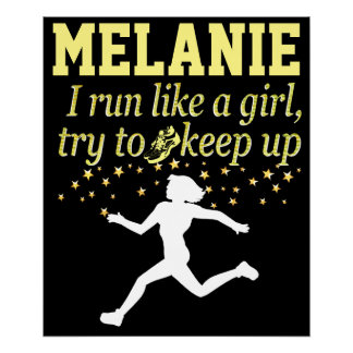 BLACK AND GOLD RUN LIKE A GIRL PERSONALIZED POSTER