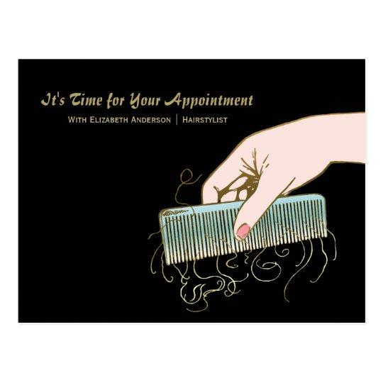 Black and Gold Salon Reminder Vintage Comb Curls