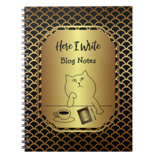 Black and Gold Scallop Blog Writing Spiral Note Book
