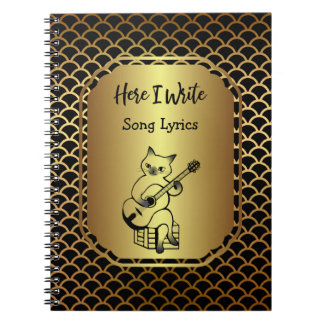 Black and Gold Scallop Song Lyrics Spiral Notebooks