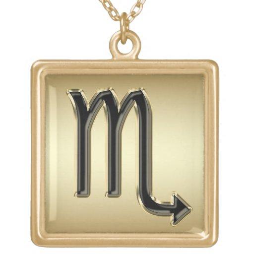 Black and Gold Scorpio Zodiac Sign Necklace