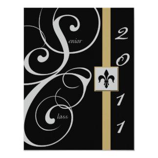 Black and Gold Scroll Ribbon Graduation Invitations