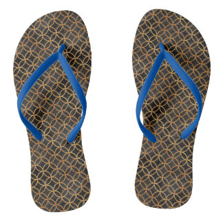 Black and Gold Seamless Pattern Flip Flops