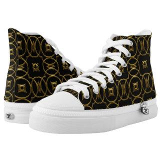Black and Gold Shiny Geometric Pattern Elegant High Tops