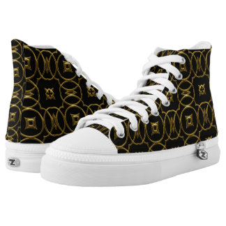 Black and Gold Shiny Geometric Pattern Elegant Printed Shoes