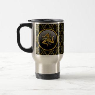 Black and Gold Sicilian Trinacria Stainless Steel Travel Mug