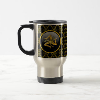 Black and Gold Sicilian Trinacria Travel Mug