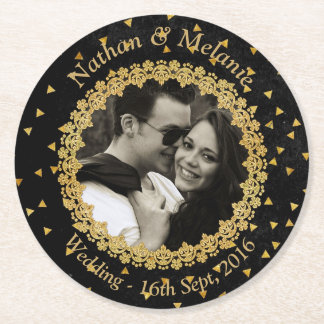 Black and Gold Sparkle Round Paper Coaster