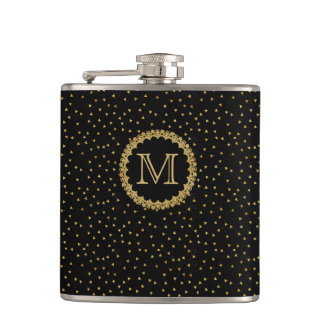 Black and Gold Sparkles Hip Flask