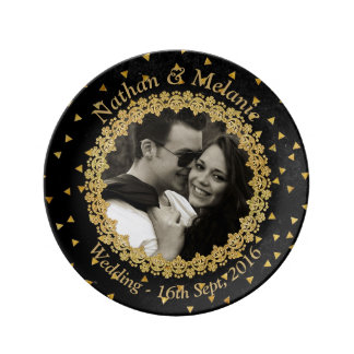Black and Gold Sparkles Plate