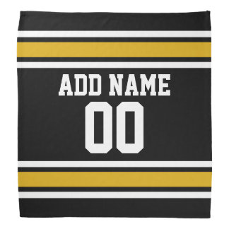 Black and Gold Sports Jersey Custom Name Number Kerchiefs