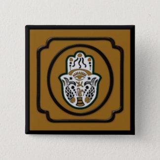 Black and Gold Square Hamsa Button